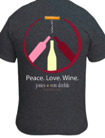 Peace Love Wine Shirt - Gray
